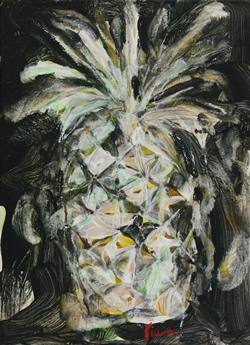FINEAPPLE-WHITE BLACK 33.4x24.2cm Mixed media on canvas  2016.JPG