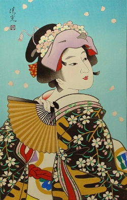 Torii KiyomiTsu_雪 月 花 (Flower) 45x31cm, Woodblock Original Print.jpg