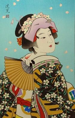 Torii KiyomiTsu_雪 月 花 (Flower) 45x31cm, Woodblock Original Print.jpg