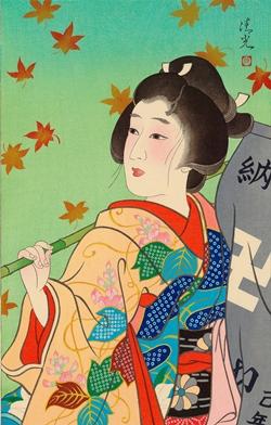 Torii KiyomiTsu_秋 (Autumn) 45x30.5cm, Woodblock Original Print.jpg
