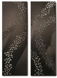 Forest, Each 60×180cm, Natural lacquer with silver 925 and mother-of-pearl, 2015.jpg