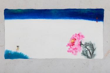 유년의 강가에 꽃이 피었었고 오늘은 꽃처럼 내가 서있다, 38x75cm, 한지에 담채, 2017.JPG