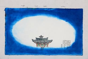지붕 위에 얹은 또 하나의 집은 하늘을 담고 싶은 하늘 닮은 마음의 모양 이었으리라 (영광 불갑사 화첩기행 中), 38x62cm, 한지에 담채, 2017.JPG