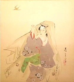 01Kimono_s cloak - beauty Woman, 24X27cm, Original painting works.jpg